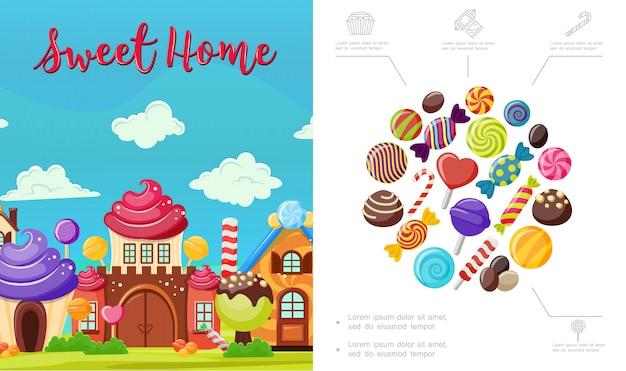 Plat Maison Douce Composition Avec De Savoureux Bonbons Colorés Maison Lumineuse De Chocolat à La Crème Fouettée Et Sucettes Vecteur gratuit