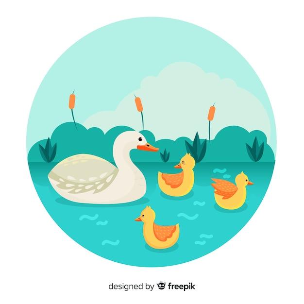 Plat mère canard et canetons dans un étang Vecteur gratuit