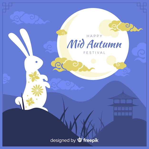 Plat mi festival d'automne avec lapin blanc Vecteur gratuit