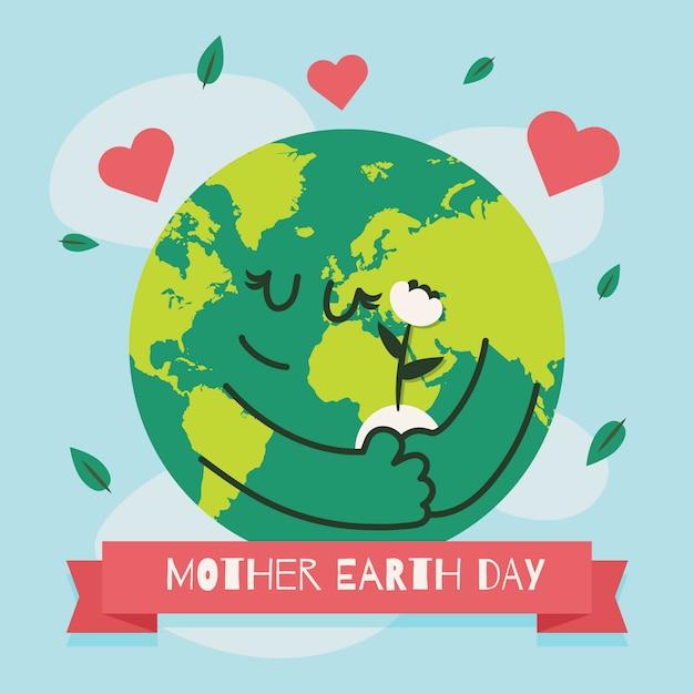 Plat Mignon Jour De La Terre Mère Illustré Vecteur gratuit