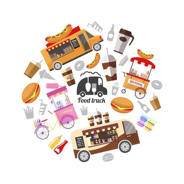 Plat De Rue Avec Illustration De La Nourriture Vecteur gratuit