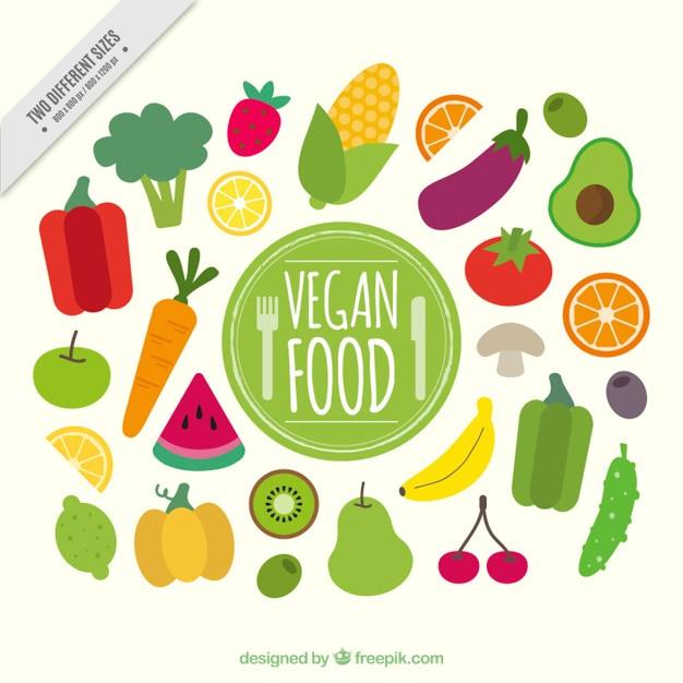 Plat sain végétalien fond alimentaire Vecteur gratuit
