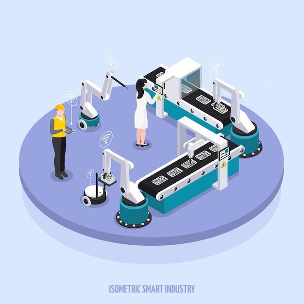 Plate-forme Ronde De L'industrie Intelligente Isométrique Avec Deux Travailleurs Supervisent L'illustration Vectorielle De L'équipement Vecteur gratuit