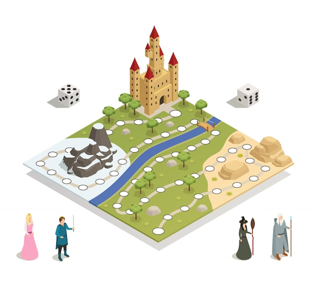 Plateau de jeu fairy tale isometric Vecteur gratuit