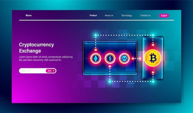 Plateforme d'échange crypto-monnaie Vecteur Premium
