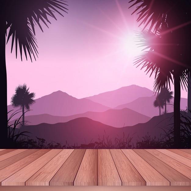 Platelage En Bois Donnant Sur Un Paysage Tropical Vecteur gratuit