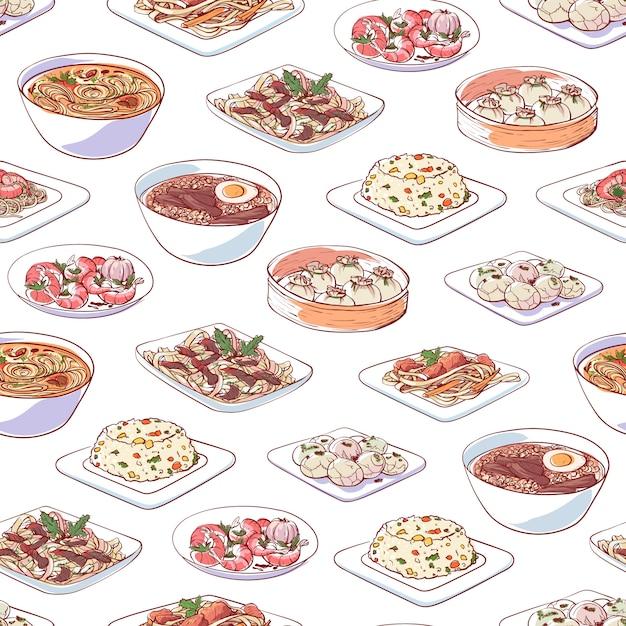 Plats de la cuisine chinoise sur fond blanc Vecteur Premium