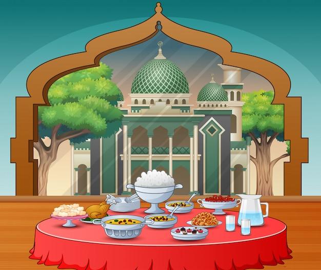 Plats délicieux pour la fête iftar Vecteur Premium