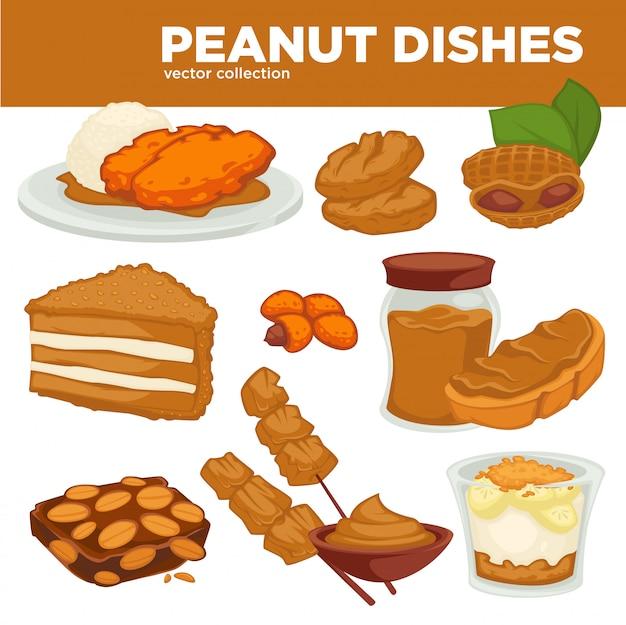 Plats de noix d'arachide vecteur nourriture, boisson et dessert Vecteur Premium