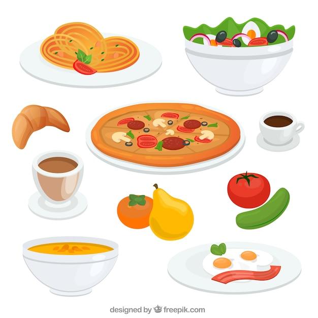 Plats de nourriture délicieuse Vecteur gratuit