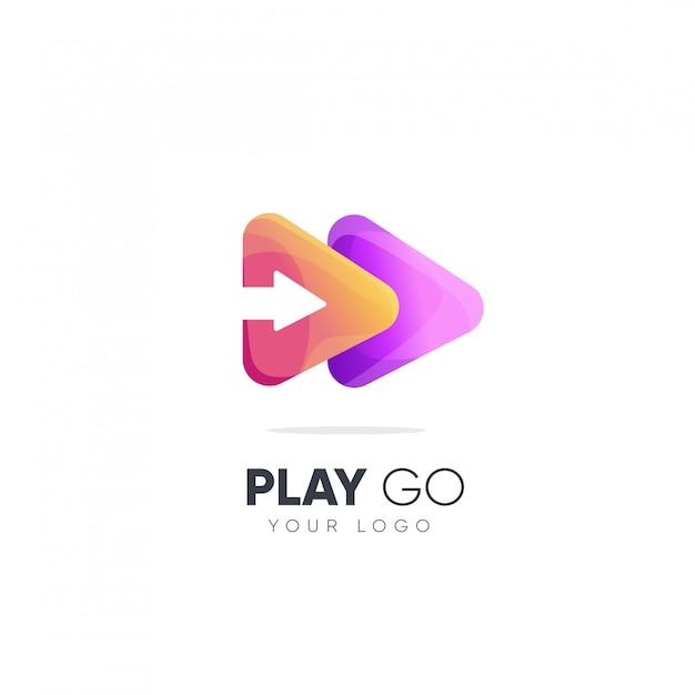 Play go création de logo Vecteur Premium