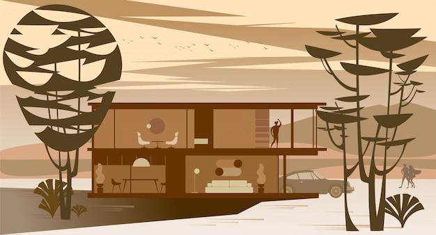 Plein vitrage chalet avec toit plat dans la forêt au coucher du soleil. Vecteur Premium