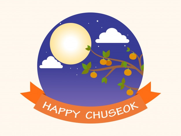 Pleine lune et fond de kaki (chuseok) Vecteur Premium
