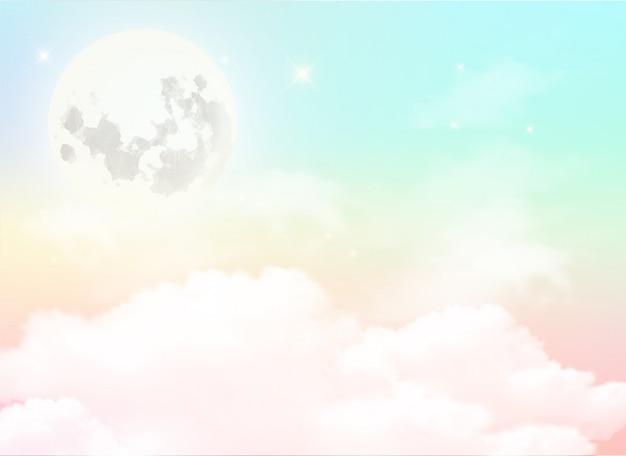 Pleine lune et nuage blanc dans le ciel et la couleur pastel. Vecteur Premium
