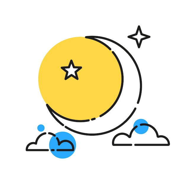 Pleine lune réaliste Vecteur Premium