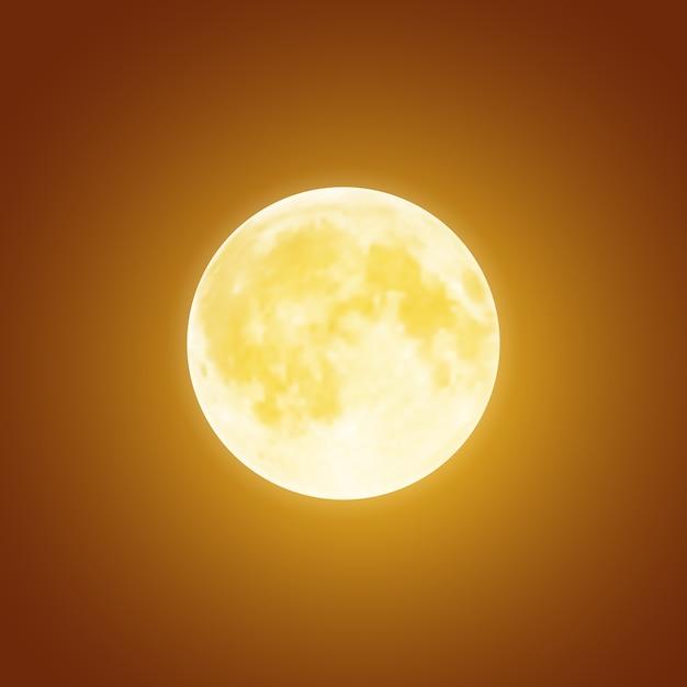 Pleine Lune Sanglante Sur Fond De Ciel Nocturne Brun Foncé. Modèle De Vacances D'halloween Vecteur Premium