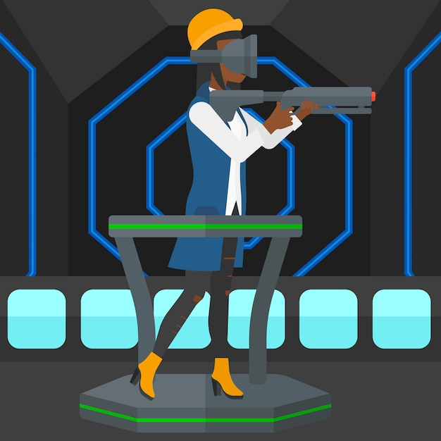 Pleine réalité virtuelle Vecteur Premium