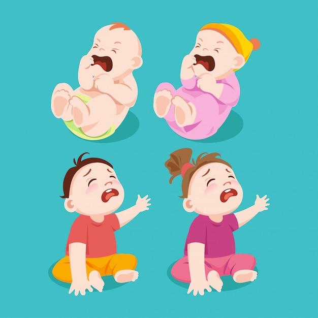 Pleurer ou tristesse bébé garçon et bébé fille Vecteur Premium