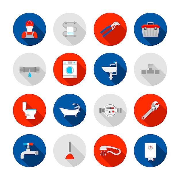 Plomberie service douche baignoire et évier vidange installation outils icônes définies illustration abstraite solide isolé vector Vecteur gratuit