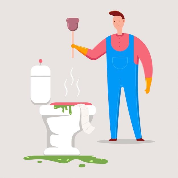 Plombier Avec Illustration De Dessin Animé De Vecteur De Piston. Vecteur Premium