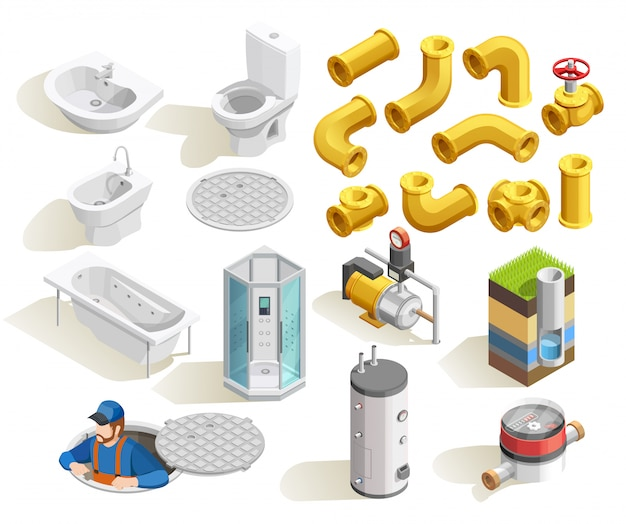Plombier isométrique icons set Vecteur gratuit