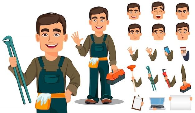 Plombier professionnel en uniforme Vecteur Premium