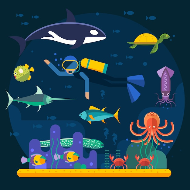 Plongée sous-marine avec des poissons et illustration vectorielle de récif de corail Vecteur Premium