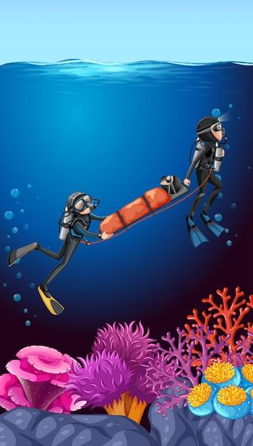 Plongée sous-marine récuse fond océan Vecteur Premium