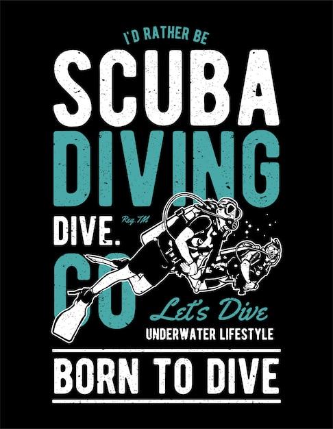 Plongée sous-marine Vecteur Premium