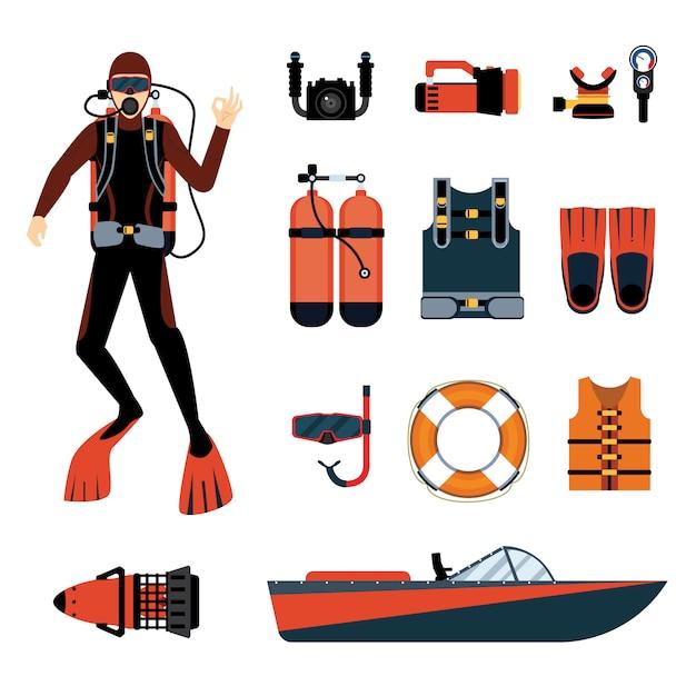 Plongeur avec équipement et équipement de plongée Vecteur Premium