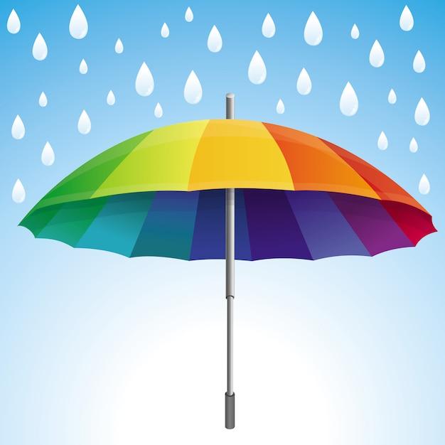 La pluie et le parapluie de vecteur tombe dans les couleurs de l'arc-en-ciel - concept météo abstrait Vecteur Premium