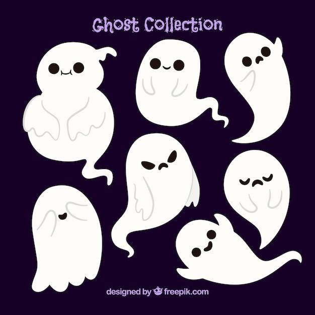 Plusieurs beaux fantômes d'halloween Vecteur gratuit