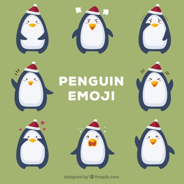 Plusieurs émoticônes pingouin Vecteur gratuit