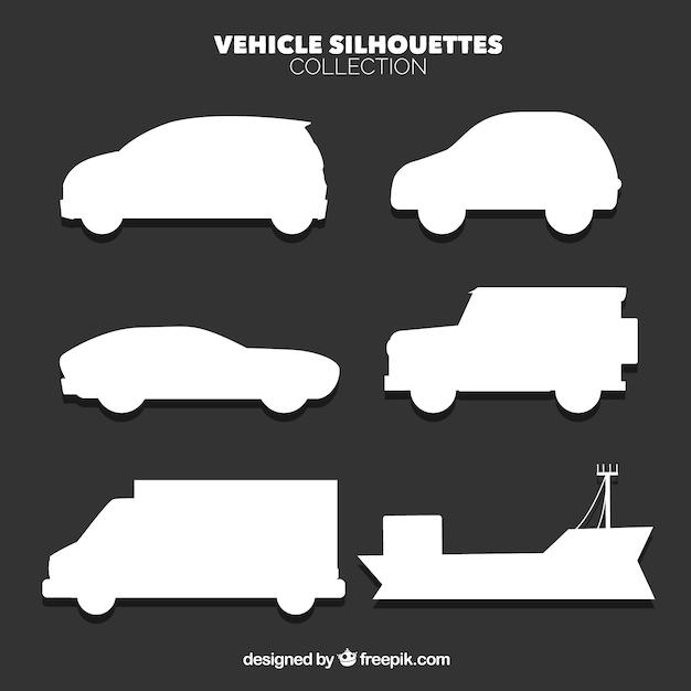 Plusieurs icônes de la silhouette des véhicules Vecteur gratuit