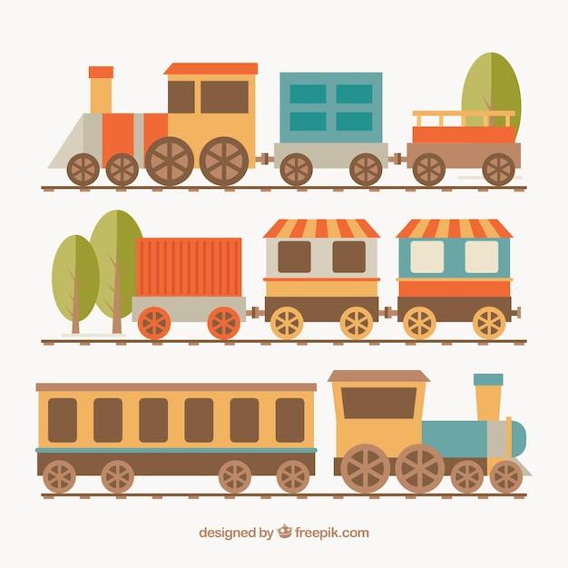 Plusieurs locomotives avec wagons Vecteur gratuit