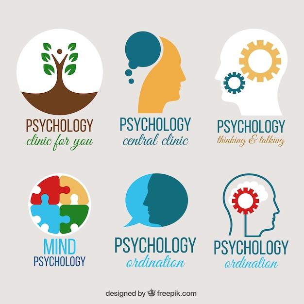 Plusieurs logos de psychologie en design plat Vecteur gratuit