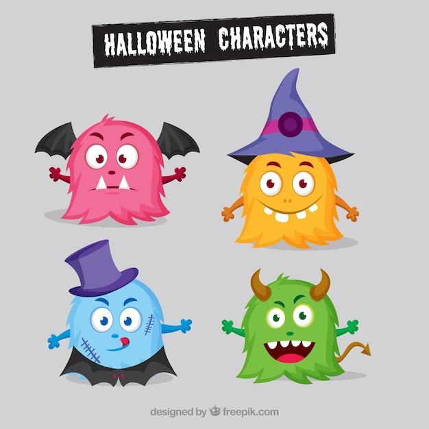 Plusieurs monstres de halloween colorés Vecteur gratuit