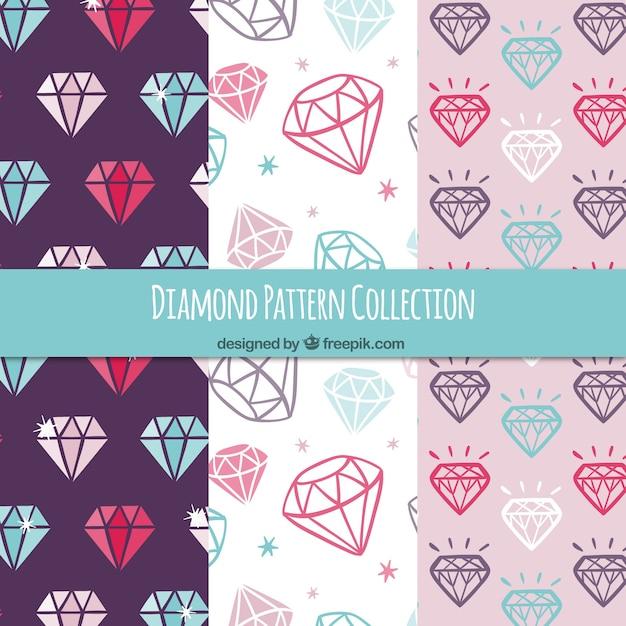 Plusieurs motifs de diamants colorés Vecteur gratuit