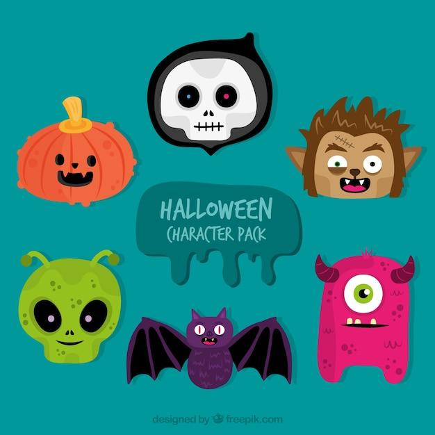 Plusieurs personnages de halloween dessinés à la main Vecteur gratuit