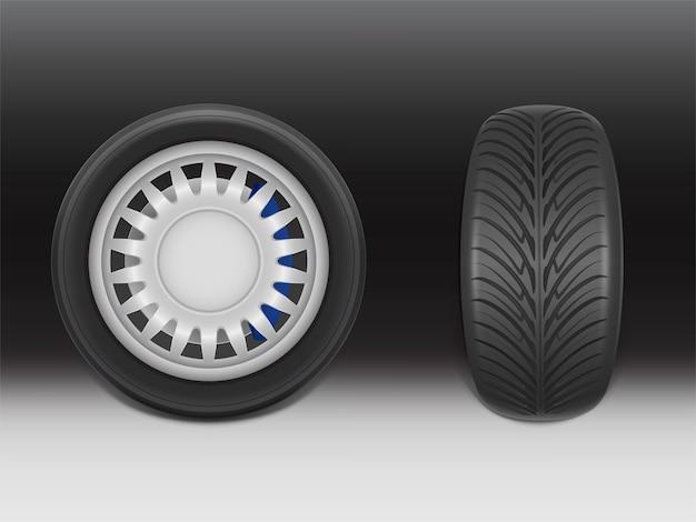 Pneu noir réaliste 3d avec étrier de frein vu de côté et de face, acier brillant et caoutchouc Vecteur gratuit