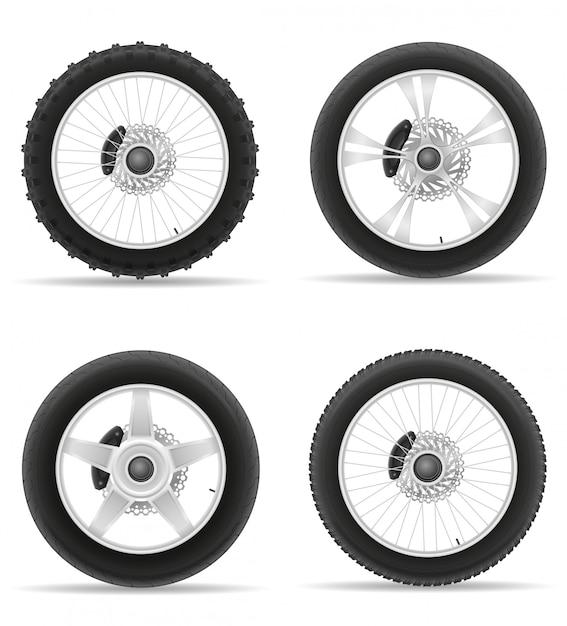 Pneu de roue de moto à partir du disque défini des icônes. Vecteur Premium