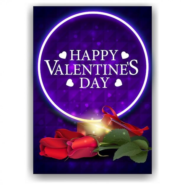 Pochette saint valentin bleue avec cadeau et fleurs Vecteur Premium