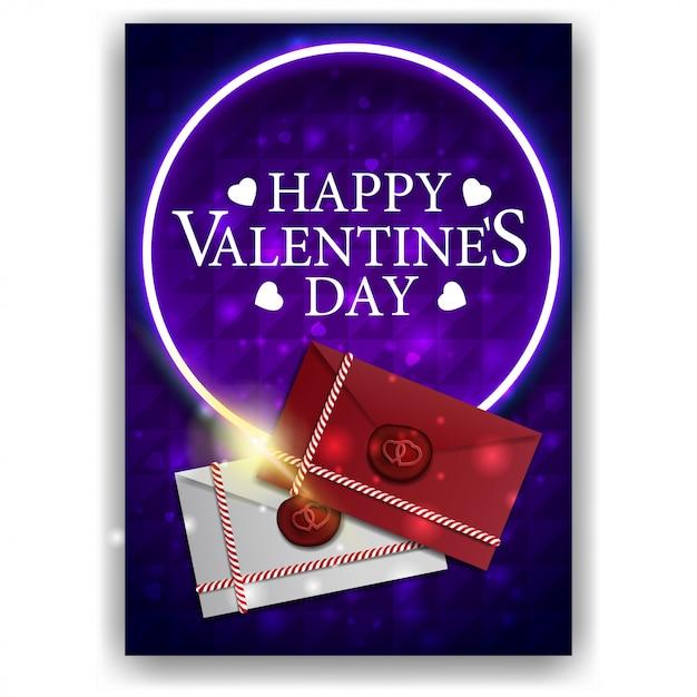 Pochette saint valentin bleue avec lettres d'amour Vecteur Premium