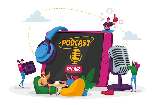 Podcast, Comic Talks Ou Concept De Diffusion En Ligne De Programme Audio. Vecteur Premium