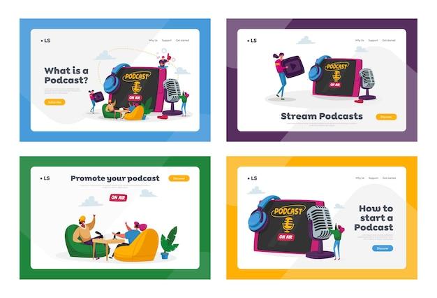 Podcast, Ensemble De Modèles De Page De Destination De Diffusion En Ligne De Programme Audio. Vecteur Premium
