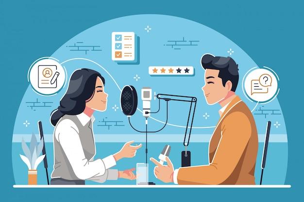 Podcast Interview Design Plat Fond Illustration Vecteur Premium