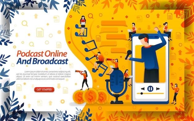 Podcasts en ligne et en diffusion avec des illustrations d'un annonceur sortant d'un smartphone Vecteur Premium
