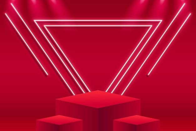 Podium Abstrait Avec Lumières Vecteur gratuit