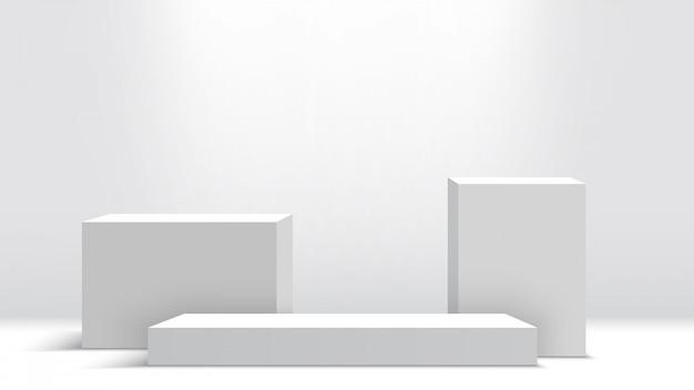 Podium Blanc. Piédestal. Scène. Des Boites. Illustration. Vecteur Premium
