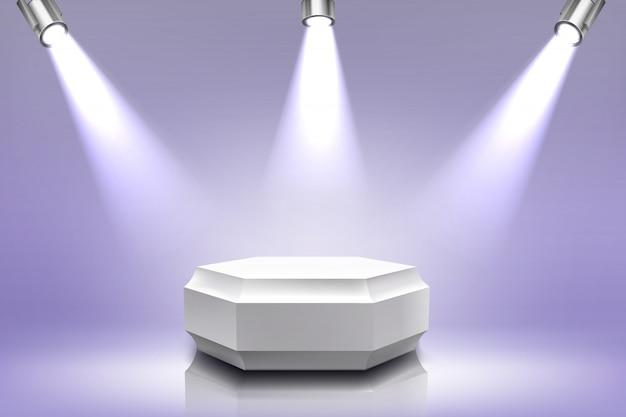 Podium Avec éclairage Par Projecteur, Scène Hexagonale Vecteur gratuit